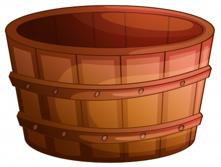 bath tub: Illustration of an old wooden barrel Illustration