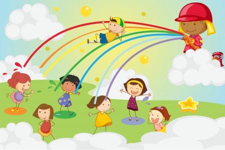 escuela infantil: Ilustración de los niños jugando en un parque Vectores