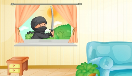 cartoon window: Illustration of a ninja entering a home
