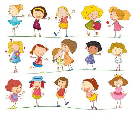 moeder met baby: Illustratie van een gemengde groep kinderen Stock Illustratie