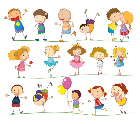 preschool child: Illustration of a group of mixed kids