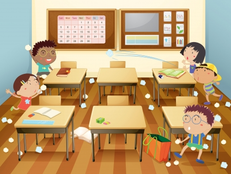 throw paper: Illustration of kids in a classroom