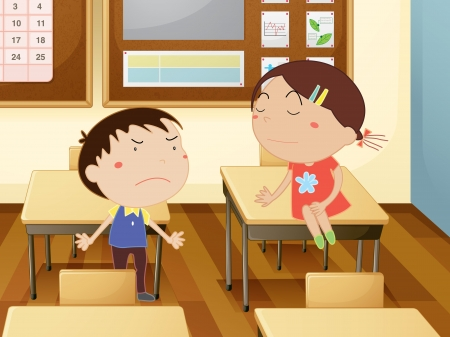 angry boy: Illustration of kids in a classroom