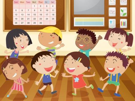 Illustratie van kinderen in een klaslokaal
