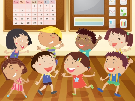 acting: Illustration of kids in a classroom