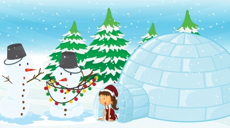 Illustration of a girl in an igloo Vector