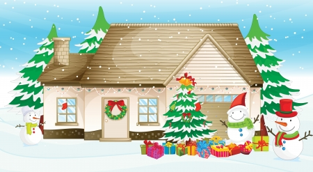 Illustration of a house at christmas Illustration