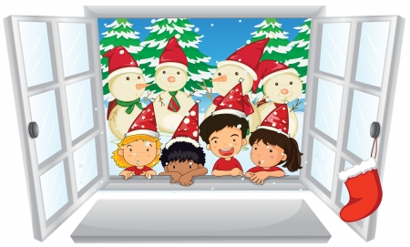 window sill: Illustration of carol singers at christmas Illustration