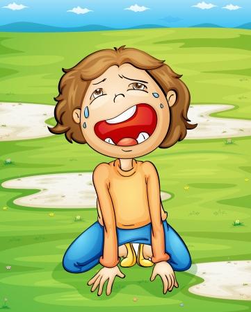 ni�o llorando: Ilustraci�n de un ni�o que llora Vectores