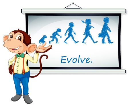 evolve: Illustration of a monkey presenting on a whiteboard