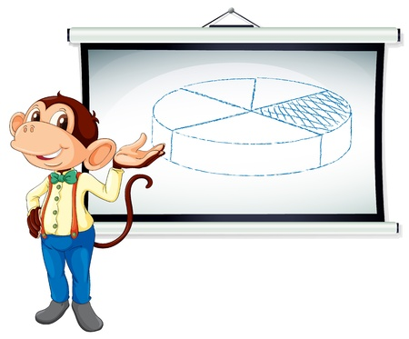 Illustration of a monkey presenting on a whiteboard Vector