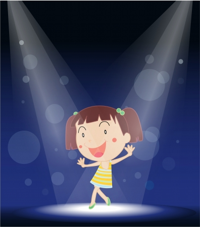 performing: Illustration of a little girl performing