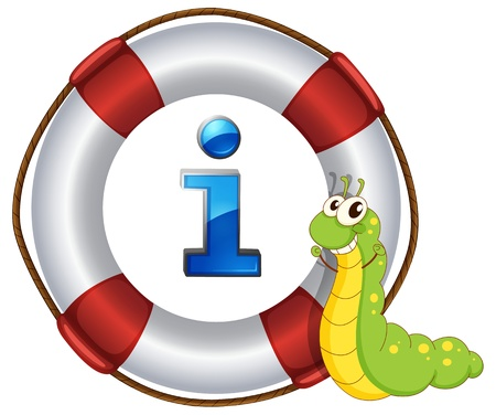 floats: Illustration of a cartoon character and information icon