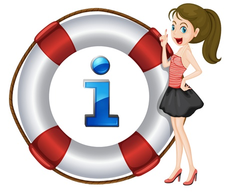 informed: Illustration of a cartoon character and information icon