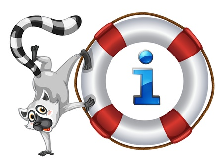 life bouy: Illustration of a cartoon character and information icon