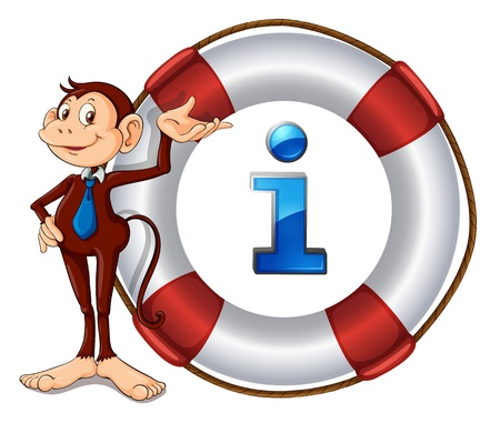 Illustration of a cartoon character and information icon