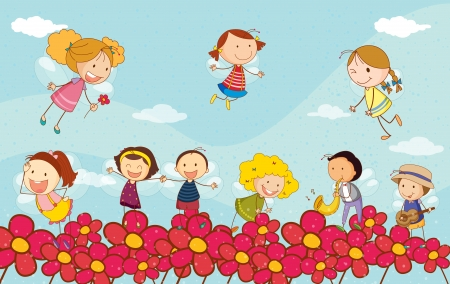 children of heaven: Illustration of kids playing together
