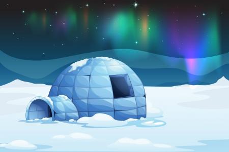 Illustratie van de aurora borealis over een iglo