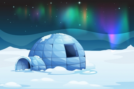 esquimales: Ilustración de la aurora boreal en un iglú