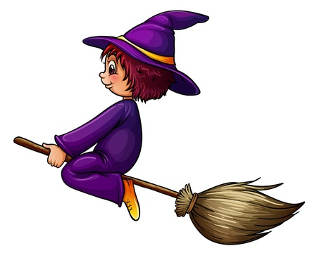 strega che vola: Illustrazione di un mago volante Vettoriali