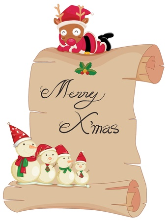 Illustration of a scroll with merry christmas Vector