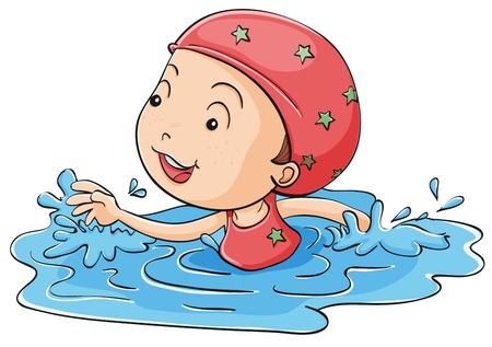 niños nadando: Ilustración de una niña de natación