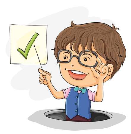 boy with glasses: Illustration of a young boy presenting Illustration