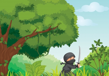 Illustration of a ninja in a forest Stock Vector - 14009363