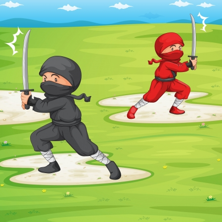 peleando: Ilustraci�n de un ninja en un campo Vectores