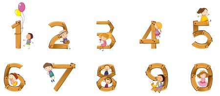 numerals: Illustration of numbers to ten with kids Illustration