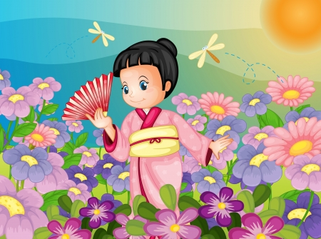Illustration of Japanese kid in field Vector