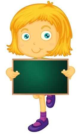child holding sign: Illustration of kids holding a blackboard