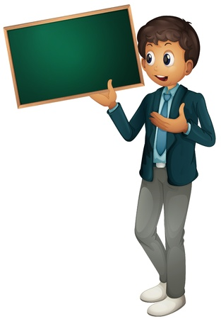 blank sign: Illustration of a tyoung man holding sign Illustration