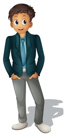 ni�o parado: Ilustraci�n del hombre de negocios de pie en blanco Vectores