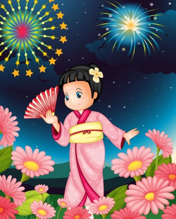 japanese fan: Illustration of a Japanese girl at night