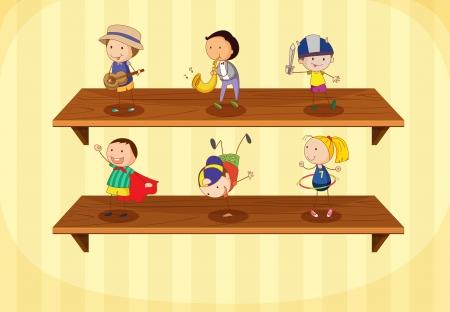 Illustration of kids on a shelf Vector