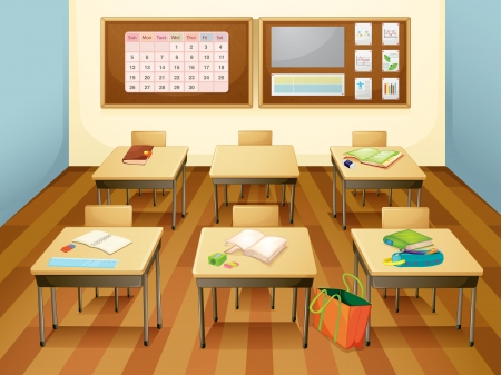 textbooks: Illustration of an empty classroom