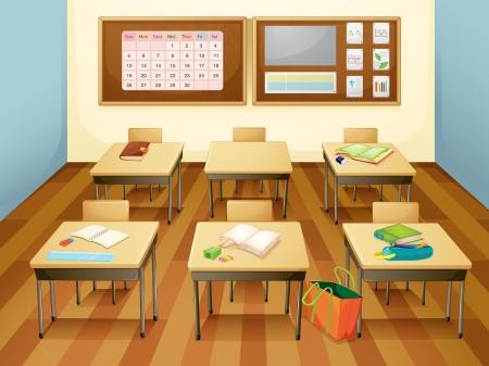 Ilustración de un aula vacía