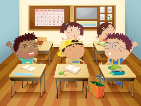 textbooks: Illustration of kids in classroom Illustration
