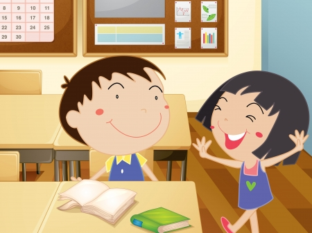 Illustration of kids in a classroom Stock Vector - 14009487