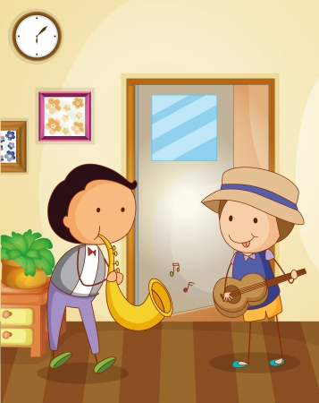 Illustration of kids playing music Vector