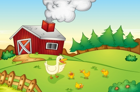 Illustration of animals on a farm Vector