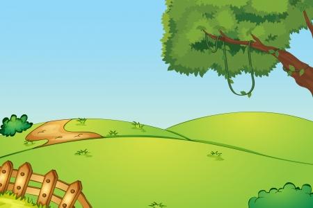 Illustration von einem Feld und einem Zaun Illustration