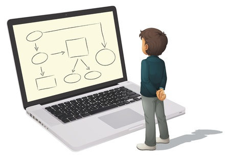 organise: Illustration of a man looking a computer Illustration