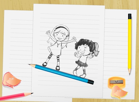 blue top: Illustration of kid on paper with pencils Illustration