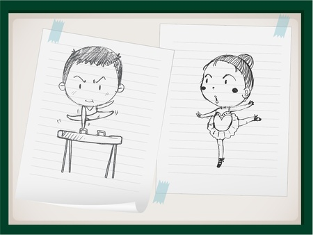 exercise book: Illustration of kids doing sports on paper