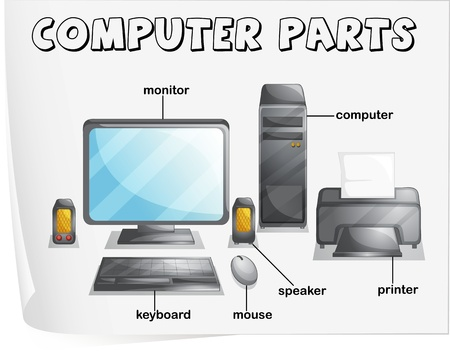 computer cartoon: Illustration of computer parts worksheet