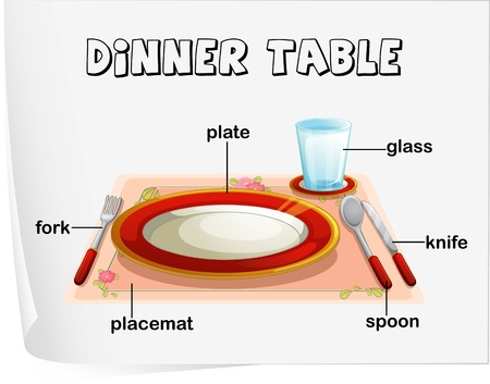 labelled: Illustration of eating utensils on a table Illustration