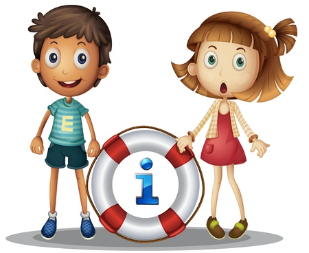 Illustration of boy and girl with information Stock Vector - 14009550