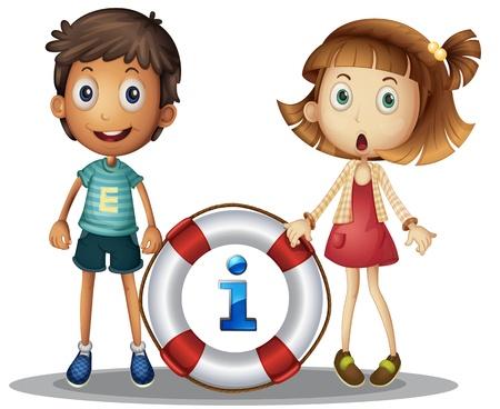 suprise: Illustration of boy and girl with information Illustration